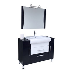 Fresca - Vita Modern Bathroom Vanity w Wenge Wood Finish (Bevera Chrome) - Choose Included Faucet: Bevera ChromeP-trap, Faucet, Pop-Up Drain and Installation Hardware Included. Single Hole Faucet Mount (Faucet Shown In Picture May No Longer Be Available So Please Check Compatible Faucet List). With overflow. Sink Color: White. Finish: Wenge Black. Sink Dimensions: 16 in. x12.25 in. x5 in. . Mirror: 35.38 in. W x 27.5 in. H. Materials: Wenge Wood, Ceramic Sink with Overflow. Vanity: 43.25 in. W x 19 in. D x 33.5 in. HPost Modern detailed European design meets Tribeca loft, clean and simple lines. Almost 1950's industrial in look, but also fully functional 21st century design. This mostly dark wenge wood vanity utilizes cleverly constructed and executed storage spaces that contrast wonderfully with a white sink and white middle drawer. Mirror with matching dark wenge wood accents.