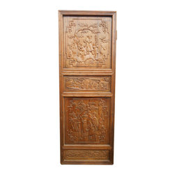 Oriental furnishings - Consigned Antique Chinese Door Oriental Furnishings - Our Chinese Antique door is generously hand carved and about 80-100 year old, it is restored by our staff and collected in northern China.  This rare door can be used as a room divider, wall hanging, and head board or as a table top. Made of Chinese pine, has a lacquered finished in a rich honey maple stain. Only one like this has been found by us. It has wonderfully detailed carving of pastoral scenery. The back is un-carved but finished . We have sold items like this that have been used as garden gate doors.