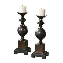 Uttermost - Marcie Candleholders, Set of 2 - Add stateliness to your decor with these regal, shapely candleholders. This set of two mingled red rust and black ceramic candleholders have copper bronze metal accents, and come with two lovely beige candles.