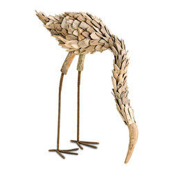 Currey & Company - Driftwood Flamingo - Driftwood that washed ashore is handcrafted and transformed into a whimsical flamingo. Each wood piece is naturally smoothed by the ocean and individually hand-selected for the sculpture. A carved beak adds to the organic beauty. Perch it on a bookshelf for a wonderful work of art that makes decorating your home with a green and sustainable conscience simple.