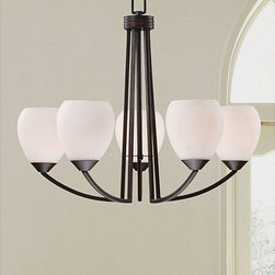None - Contemporary 5-light Antique Bronze Chandelier - Brighten your home decor with an elegant 5-light chandelier Lighting fixture showcases an antique bronze (matte black brushed with brown) finish Chandelier features white glass shades