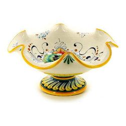 Artistica - Hand Made in Italy - Deruta Glt: Footed Bowl with Fluted Rim (Dec. 197) - Deruta Vario Collection: