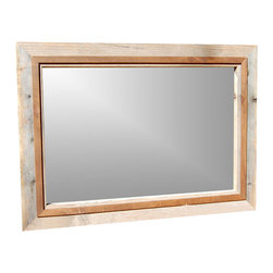 MyBarnwoodFrames - Rustic Mirrors Barnwood with Alder Overlay Hobble Creek Series, 28x34 - Rustic  Mirrors  -  Barnwood  Mirror  with  Alder  Accents        (28x34  exterior  dimensions)          Rustic  mirrors  handcrafted  from  authentic  barnwood  are  the  perfect  addition  to  your  rustic  or  primitive  decor.  This  mirror  works  well  for  nautical  decor  as  well  as  western  rustic  decor,  but  it's  simplicity  and  classic  styling  make  it  a  great  addition  to  any  room.          We've  taken  one  of  our  most  popular  frames,  the  Hobble  Creek  Series,  and  turned  it  into  a  classic  rustic  mirror.  We  start  with  a  sturdy  3.5  inch  wide,  1.5  inch  deep  barnwood  frame.,  Next,  we  add  a  one  inch  wide  walnut-stained  alder  overlay  to  help  draw  out  the  natural  tones  and  textures  of  the  rustic  wood  frame.  The  complete  exterior  dimensions  of  this  beautiful  mirror  measure  28x34.  Your  mirror  can  hang  horizontally  or  vertically.