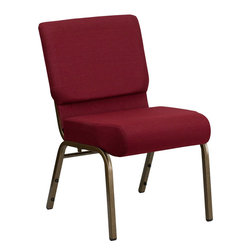 Flash Furniture - Hercules Series 21'' Extra Wide Burgundy Church Chair With 4'' Thick Seat- Gold - This HERCULES Series Church Chair will add elegance and class to any Church, Hotel, Banquet Room or Conference setting. If you are looking for a chair with comfort and style that is easy to move and stores away with ease, then look no further. This built to last chair has a 16-gauge steel frame that has been tested to hold 800 lbs. This church chair features double support bracing, ganging clamps, a cushion that graduates to a 5'' thick waterfall edge and plastic floor glides to protect non-carpeted floors. Our church chair is manufactured by one of the most reputable stack chair manufacturers in the industry, you can be assured of the quality of this chair offered to you.