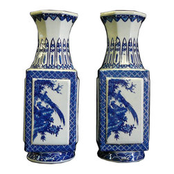 Golden Lotus - Pair Chinese Blue & White Porcelain Scenery Square Vases - This is a pair traditional Chinese decorative vases in blue & white color with oriental flower and birds scenery graphic and interesting round base sqaure body and octagon mouth shape .