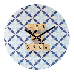 "DENY Designs - DENY Designs Happee Monkee Let It Snow Round Clock - Talk about a small home decor accessory that makes a HUGE impact! Our affordable 12"" Round Clock comes complete with the artwork of your choice and coordinating clock hands. Hang it on it's own or group it in a collection. Time's a tickin'!"