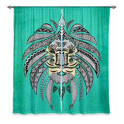 """DiaNoche Designs - Window Curtains Lined by Pom Graphic Design Emperor Tribal Lion Turquesa - Purchasing window curtains just got easier and better! Create a designer look to any of your living spaces with our decorative and unique """"Lined Window Curtains."""" Perfect for the living room, dining room or bedroom, these artistic curtains are an easy and inexpensive way to add color and style when decorating your home.  This is a woven poly material that filters outside light and creates a privacy barrier.  Each package includes two easy-to-hang, 3 inch diameter pole-pocket curtain panels.  The width listed is the total measurement of the two panels.  Curtain rod sold separately. Easy care, machine wash cold, tumble dry low, iron low if needed.  Printed in the USA."""