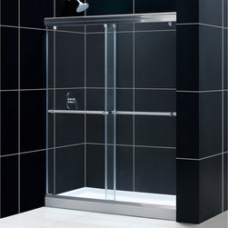 BathAuthority LLC dba Dreamline - Charisma Frameless Bypass Sliding Shower Door & SlimLine Single Threshold Shower - This DreamLine shower kit offers the perfect solution for a bathroom remodel or tub-to-shower conversion project with a Charisma frameless bypass shower door and a coordinating SlimLine shower base. The Charisma has a no wall profile design for the unique combination of a bypass sliding shower door and the beauty of frameless glass. Both frameless doors slide effortlessly across perfectly engineered rails, providing the ability to enter the shower space from either side. The SlimLine shower base completes the picture with a modern low profile design.