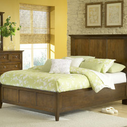 Domusindo - Modern Shaker Truffle Solid Mahogany Panel Bed - This bed features clean lines and updated styling for a fresh take on classic Shaker design. Crafted entirely from Mahogany solid wood with a simple framed panel design, a rich truffle finish showcases the Mahogany lumber.