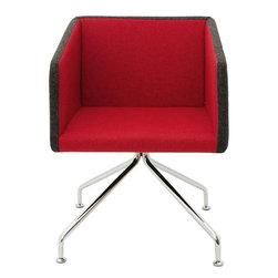 B&T Design - Box Chair, Genuine Leather Gray Shadow - 440, 4-Legged Polished Chrome - Box Chair
