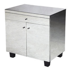 Eva Bedside Table by Oly - Rectangular, two-door non-antiqued mirrored table with drawer.