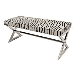 Zebra Hide and Polished Nickel Bench - This zebra bench says nothing but chic.