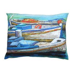 Roweboat Art Inc - Greek Fishing Boats, Linen Pillow With Down Blend Insert, 20x16 - Original art on linen fabric