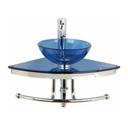 Renovators Supply - Corner Sinks Blue Glass Mini Wall Mount Vessel Corner Sink | 10890 - Renovators Supply Corner Sinks. Mini Corner Wall Mount Sink: The most compact MINI design with integral stainless steel towel bar and support. Its compact design doesn't sacrifice style or functionality, making it a great choice for bathrooms of any size! Includes chrome single lever faucet, pop-up drain and p-trap. Measures 23 1/2 inch W x 16 3/4 inch along the wall.