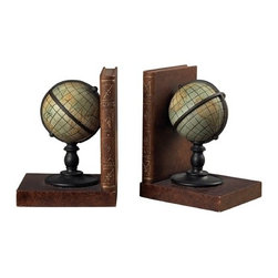 Vintage World Globe Bookends -