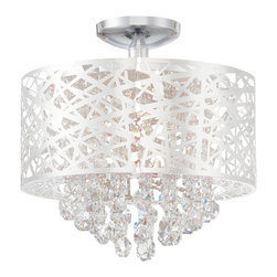 Lite Source - Lite Source Benedetta Modern / Contemporary Semi Flush Mount Ceiling Light X-001 - Chrome finishing accentuates the chaotic patterning of the exterior laser-cut metal drum shade on this Lite Source semi flush mount ceiling light. From the Benedetta Collection, this contemporary ceiling light also features tiered hanging full cut crystal droplets that dance in the light.