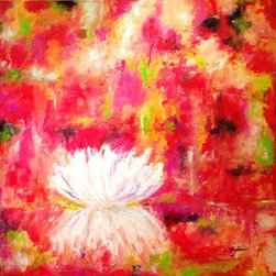 """Abstract Water Lily, Painting"" - ""Water Lily Monet painted around 250 paintings inspired by the water lilies from his pond. I passed by Monet's garden a few years ago, and images from his garden and pond remain in my memory since then. What a happiness to live as a painter in a such environment ! An endless source of inspiration. I started to create a series of paintings with water lilies, in homage to Monet. *** Acrylic on Stretched canvas. Gallery Format"""