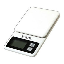 Taylor - Taylor Mini Kitchen Scale - Taylor Mini Kitchen Scale - 11 lb./5 kg x .1 oz./1 g capacity.  Scale stores on refrigerator with convenient storage hanger.  Auto shutoff & tare functions.  1 lithium battery included.