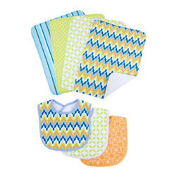 """Trend Lab - Bouquet Set - Levi - Bib & Burp Cloth - Keep messes to a minimum with this stylish Levi Bib and Burp Cloth Set by Trend Lab. Set includes three bibs and four burp cloths each with fun, modern printed cotton on the front and terry on the back. Bib patterns include: one vibrant chevron print in nautical blue, tiger orange, blue raspberry, chartreuse green and white with blue trim; one white and chartreuse green lattice print with white trim; and one tiger orange and white geometric circle print with orange trim. Burp cloth patterns include: one vibrant chevron print in nautical blue, tiger orange, blue raspberry, chartreuse green and white; one chartreuse green and white mini dot print; one white and chartreuse green lattice print; and one variegated stripe print in nautical blue, tiger orange, blue raspberry, chartreuse green and white. Each bib measures 9"""" x 12"""" with Velcro closure and each burp cloth measures 10"""" x 13"""". Bib and Burp Cloth Set coordinates with the Levi collection by Trend Lab."""