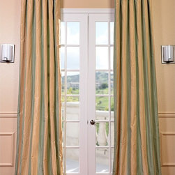 EFF - Signature Stripe Beige/ Sea Foam Green Faux Silk Taffeta Curtain Panel - Wide beige and seafoam stripes and graceful sweep of elegant striped curtain panels dress up a window! Cotton and flannel-lined panels are practical and pure silk and taffeta dreamy luxury. They come with an attached hook belt for beautiful draping.