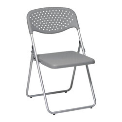 Office Star - Office Star FC Series Set of 4 Plastic Folding Chair in Grey - Office Star - Folding Chairs - FC8000NS2 - Folding Chair with Grey Plastic Seat and Back and Silver Frame. (4-Pack). Convenient for outdoors or an extra seat for a guest this folding chair comes in a multiple color selection of your choice. Also the office star is easy to store away until the next time you need it.