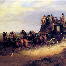 """Charles Cooper Henderson The Bath to London Coach Print - 16"""" x 24"""" Charles Cooper Henderson The Bath to London Coach on the Open Road premium archival print reproduced to meet museum quality standards. Our museum quality archival prints are produced using high-precision print technology for a more accurate reproduction printed on high quality, heavyweight matte presentation paper with fade-resistant, archival inks. Our progressive business model allows us to offer works of art to you at the best wholesale pricing, significantly less than art gallery prices, affordable to all. This line of artwork is produced with extra white border space (if you choose to have it framed, for your framer to work with to frame properly or utilize a larger mat and/or frame).  We present a comprehensive collection of exceptional art reproductions byCharles Cooper Henderson."""