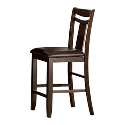 Homelegance - Homelegance Broome Counter Chair in Brown Bi-Cast Vinyl - With just a hint of craftsman styling and a defined transitional look, the Broome collection provides you and your family ample space to enjoy your time together. The dark brown finish on hardwood veneers adds to the classic look of the collection. The counter height tabletop expands to seat eight comfortably and is supported by a storage base. The warm brown bi-cast vinyl seats of the chairs blend effortlessly with the table's warm finish.
