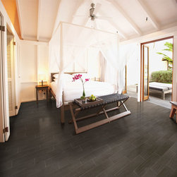 Daltile Yacht Club - This bamboo-style tile by Daltile features the look of fine wood grain giving this space an open yet sophisticated feel. This breezy bedroom features the color Bridge Deck. Bring a tropical vibe into your home with Yacht Club!