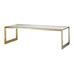 Pompeii Coffee Table - Baker Furniture - Things that really work are often really simple. In an effort to design a more versatile coffee table, Thomas Pheasant further pared an already spare waterfall form-only to add back an unusually thick cast brass frame with an organically textured face and a polished interior. Adapting to its environment, a floating clear glass top picks up the detail of any decorative objects, to include an ottoman, placed under it.