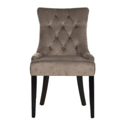 Safavieh - Ashley Kd Side Chairs - Mushroom Taupe - Its a Deco darling. The Ashley KD Side Chairs bring chic, modern style to the dining room. Their lush cotton upholstery in mushroom taupe highlights its curvaceous figure while its sleek birch wood legs with espresso finish add just the right amount of Park Avenue style.