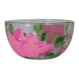 "Peony 6"" Bowl - This is a 6"" bowl which is hand painted and features a wonderful Pink Peony.  Something to be handed down from generation to generation. Proudly hand painted in the USA."
