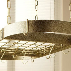 Rogar - Oval Grid Pot Rack in Hammered Bronze w Brass - Color: Hammered Bronze/BrassLids can be placed on top of grid. Includes 8 regular and 4 grid hooks. Hammered Bronze w Brass accessories. 34 in. L x 16 in. W x 2 in. H (13 lbs.)