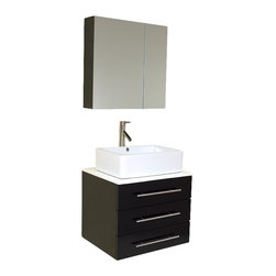 Fresca - Fresca Modella Espresso Modern Bathroom Vanity w/Ceramic Sink & Medicine Cabinet - Okay okay, we're going to brag. Our most popular piece comes in pint size! Perfect for one or smaller space. Clean lines and simple chrome hardware that seem to be only found in Chelsea or SoHo shops, compliment the combination of dark brown white and chrome that cover this geometric vanity. Complete with medicine cabinet and two adjoining shelves solve any storage quandaries.