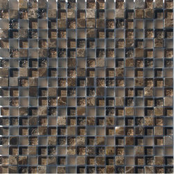 Supah Fish Tiles - Spirited Glass Chocolate Brown Mosaic - This glass mosaic series comes in two sizes. A mini square mosaic and a random linear pattern. Your backsplash is ready to be covered.