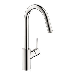 Hansgrohe - Hansgrohe Talis S2 14872001 Single Handle Pull Down Kitchen Faucet - 575674 - Shop for Kitchen from Hayneedle.com! Don't settle for less the Hansgrohe Talis S2 14872001 Single Handle Pull Down Kitchen Faucet has the style and innovation to transform your kitchen. Since this faucet is made from solid brass you can trust that corrosion and bacteria will be a non-issue. You can get the largest of pots and pans easily into the basin with its high-arcing and swiveling spout. The head of the spout easily pulls down to double as a strong sprayer to wash dishes and produce. A ceramic cartridge will keep those annoying drips in the past where they belong. Product Specifications: Mount Type: Deck Mount Handle Style: Lever Valve Type: Ceramic Disc Flow Rate (GPM): 2.2 Swivel: 360 degrees Spout Height: 10.25-inch Spout Reach: 8.25-inch About the Hansgrohe GroupIn 1901 the Hansgrohe Group was founded in Schiltach in the Black Forest in Germany by Hans Grohe. Headquarters for Hansgrohe are still located there today. With a firm establishment in the sanitation industry Hansgrohe offers progressive design-oriented bathroom solutions and cutting-edge bathroom products. Successful world-wide Hansgrohe has 10 production facilities on three continents and sales companies and consulting support locations in 36 countries. Hansgrohe's five-star recipe for success includes innovative products a sustainable business concept and the passion for the element of water..