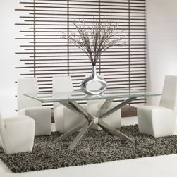 """Star International - Mantis Dining Table with Crackle Glass - Features: -Ritz collection. -Stainless steel finish. -Contemporary design. -1 Year manufacturer warranty. -Dimensions: 39"""" Height x 75"""" Width x 42"""" Depth."""
