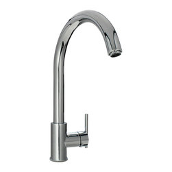 "MR Direct - Chrome Single Handle Kitchen Faucet - The 711-C Single Handle Kitchen Faucet has a one or three-hole installation option and is available in a brushed nickel, oil-rubbed bronze or chrome finish. It is a versatile faucet with a 360 degree spout and optional base plate that can be used with a kitchen or bar sink. The dimensions for the 711-C are 2 3/8"" x 15 1/4"" with a 9 1/8"" spout reach. This faucet is pressure tested to ensure proper working conditions and is covered under a lifetime warranty. With its simple design, the 711-C is sure to complement any bar or kitchen sink."