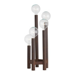 Kathy Kuo Home - Webster Unique Iron Pole 5 Light Torch Lamp Torchiere Lamp - From the cascade of clear bulbs to the earthy iron frame, this table torchiere delivers serious modern style without ever being too precious.  Naturally masculine and utterly charming - this piece of contemporary lighting is definitely our type!