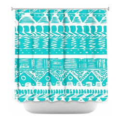 DiaNoche Designs - Shower Curtain Artistic - Boho Blue Aztec - DiaNoche Designs works with artists from around the world to bring unique, artistic products to decorate all aspects of your home.  Our designer Shower Curtains will be the talk of every guest to visit your bathroom!  Our Shower Curtains have Sewn reinforced holes for curtain rings, Shower Curtain Rings Not Included.  Dye Sublimation printing adheres the ink to the material for long life and durability. Machine Wash upon arrival for maximum softness on cold and dry low.  Printed in USA.