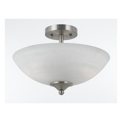 Triarch International - Triarch International 33291 2 Light Semi-Flush Mount Ceiling Fixture from the Va - Value Series 290 2 Light Semi-Flush Mount Ceiling FixtureThe white swirl alabaster glass shades on this ceiling fixture soften the modern edge of the satin nickel hardware.Features: