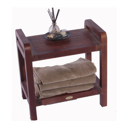 """Deco Teak - 20"""" Ergonomic Teak Shower and Outdoor Stool With Shelf and Lift Aide Arms - Deco Teak LiftAide ergonomic spa bench provides a combination of comfort and elegance to your spa, shower, bathroom, patio, or living area. Extensive clinical research has shown that by simply providing arms to assist in lifting out of a chair, the added leverage can increase efficiency by almost 200%. The LiftAide arms are designed to be sturdy, and steady to provide that added support and assistance when lifting out of the shower chair. They also provide a handy surface for hanging towels on, and can double as a towel rack once you are out of the shower. The teak stool is 20"""" in length by 13"""" width, by 18"""" high. An included utility shelf provides additional storage and easy access for your toiletries, or other essential items. Teak is naturally water, mold, and mildew resistant due to its natural density and high oil content. It has been the wood of choice for hundreds of years of luxury boat builders. This natural resistance has been supplemented by using our proprietary Deco Teak stain which is a deep penetrating stain with added mold, mildew, and fungus inhibitors. It provides the ability for this teak furniture to be used outdoors as well as indoors. LiftAide arms height for ease of sitting and standing; Shelf included; Indoor outdoor deep penetrating stain for water, mold, mildew, fungus, and sunlight resistance; Dimensions: 20"""" L x 13"""" W x 18"""" H; Height of Handle: 21"""""""