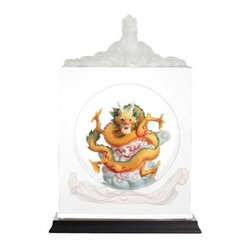 Franz Porcelain - FRANZ PORCELAIN COLLECTION Dragon Imperial Jade Seal Lucite Sculpture FL00108 - Finished In Lead Free Glazes * Hand Painted By Franz Porcelain Artisans * FDA Approved Food/Plant Safe * New In The Original Box