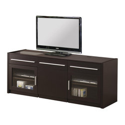 Coaster - Coaster Contemporary TV Console in Cappuccino - Coaster - TV Stands - 700674 - Love to browse the web on your laptop as you watch TV? Then this contemporary TV console with hidden mobile computer caddy is just the thing for your living room. The rich Cappuccino finish and scratch resistant Melamine laminate top offers a durable look. With the mobile cart that rolls out from the center of the cabinet it makes an ideal place to charge your laptop when not in use. Just fold the screen down and slide the cart back in. Your laptop will be charged and ready to use and your cabinet will look fantastic. The caddy and center area feature shelves for storage. The CONNECT-IT power drawer with easy adapter plug for all your digital accessories makes charging your cell phone camera and MP3 player a breeze. Embedded Shelves are not adjustable. This TV stand has a weight capacity of 150 pounds. An additional drawer and shelves within two side glass doors offer a place to keep your components.