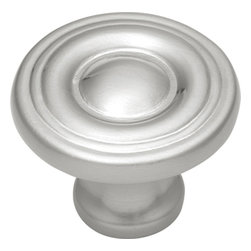 Hickory Hardware - Conquest Satin Nickel Cabinet Knob - Bridges contemporary and traditional design.  Offering a deep rooted sense of history in some, with an updated feel and cleaner lines.