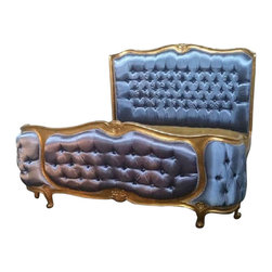 Lansky Studio - Yves French Louis XV Style Bed in Gold Leaf in King Size - Add some French Louis XV style to your bedroom with this gorgeous bed. Hand finished in gold leaf and deep tufted in a silk blend fabric. The bed comes with 2 support rails in the middle and approximately 10 slats a cross. Hand carved and finished mahogany wood.
