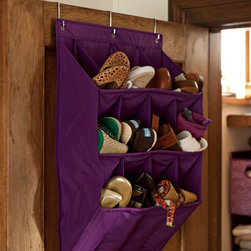 Hanging Shoe Rack - I love the look of this over-the-door shoe organizer. It has deep pockets that will fit most shoes. And it does not look as flimsy or as cheap as other similar options.