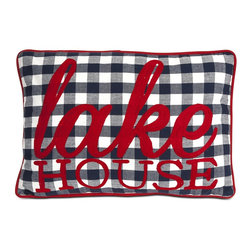 iMax - iMax Lake House Pillow X-53068 - An oversized navy gingham print is accented by red trim with lake house text embroidery.