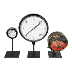 Salvatecture Studio - Set Of Three Vintage Industrial Gauges On Stands 4 - Gauges have been around as instruments of measurement and precision for ages. Here are three vintage ones to give your den or office an industrial vibe. This trio is mounted on reclaimed iron stands, and each gauge is distinctive in size and style. This could be the start of a fascinating collection!