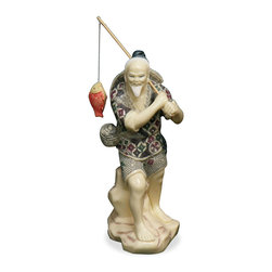 "China Furniture and Arts - Fisherman - The word ""fish"" in Chinese pronunciation is the same as the word ""surplus""; thus, fish symbolizes abundance and prosperity in Chinese culture. This vivid figurine stands as a function of art and is a perfect gift for him."