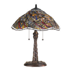 "Meyda Tiffany - 23.5""H Spiral Dragonfly W/ Twisted Fly Mosaic Base Table Lamp - A crisp Linen White glass with tiny metal beads border this enchanting Tiffany inspired stained glass shade. Scarlet bodied Dragonflies with filigree wings swirl playfully against a Dusk colored sky. The lamp base, with mosaic glass inlay, continues to swirl down to the trio of cast dragonflies at its foot."